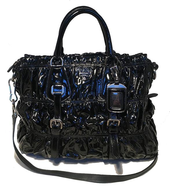 Item - Bag Gaufre Ruched Black Patent Leather Tote