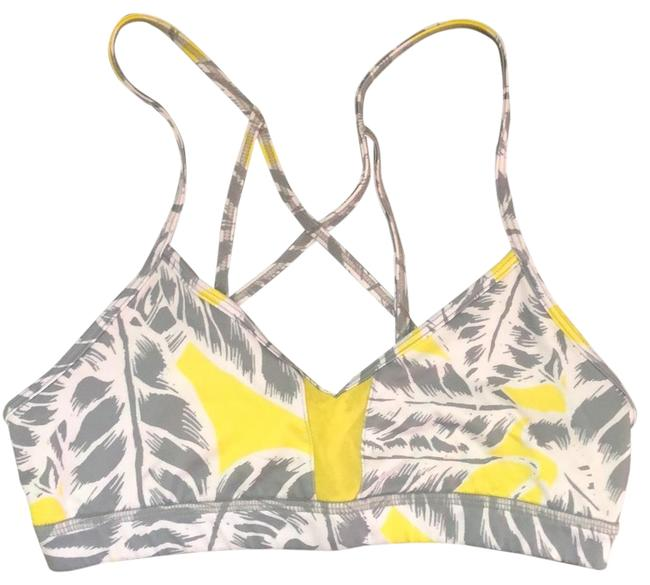 Item - Grey White & Yellow Criss Cross Back Activewear Sports Bra Size 4 (S)