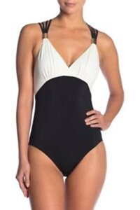 Miraclesuit AMORESSA by Miraclesuit GALAXY HORIZON Black White ONE PIECE SWIMSUIT