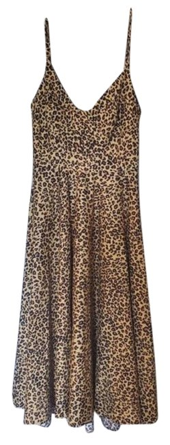 Item - Black Brown Farm Rio Leopard Print Midi Mid-length Night Out Dress Size 2 (XS)