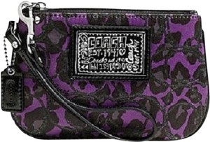 Coach Purple New Wallet Animal Print Limited Edition Wristlet in Purple-Black~Silver
