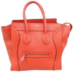 Céline Luggage Calfskin Mini Tote in Orange