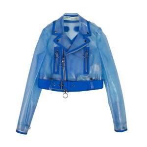 Off-White™ Crop Top Logo Longsleeve Studded Belted Motorcycle Jacket