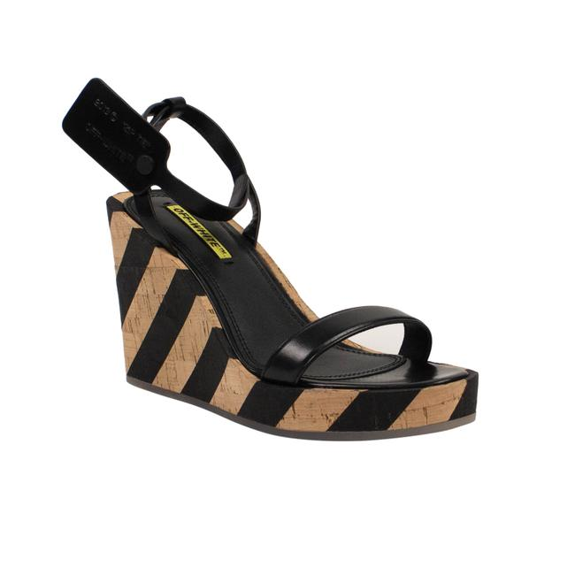 Item - Black Striped Wedge Sandals Size EU 37 (Approx. US 7) Regular (M, B)
