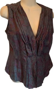 Premise Silk Sleeveless Floral Button Up Top grey & maroon