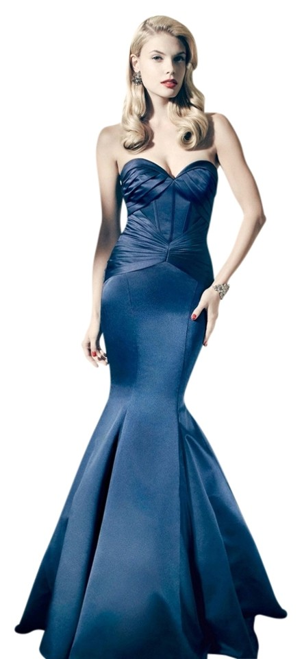 Zac Posen Navy Truly Mermaid Evening Gown Long Formal Dress Size 8 ...