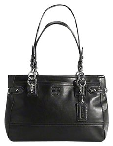 Coach Neverfull Carryall Tote Shoulder Work Genuine Leather Satchel in Black-Silver