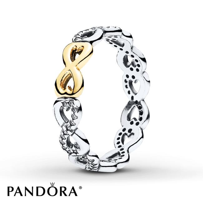 Item - 14k Gold and Sterling Silver Sparkling Infinity Band Size 58 Style # 190948cz-58 Ring