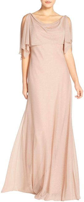 Item - Blush Shimmer Devon Glitter Knit Gown with Detachable Capelet Long Night Out Dress Size 14 (L)