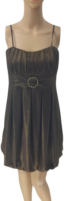 Item - Brown Adjustable Shimmery Bubble Hem Short Casual Dress Size 10 (M)