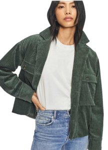 Anine Bing Cropped Corduroy Green Jacket