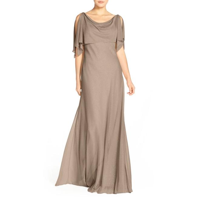 Item - Taupe Devon Glitter Knit Gown with Detachable Capelet Long Night Out Dress Size 8 (M)