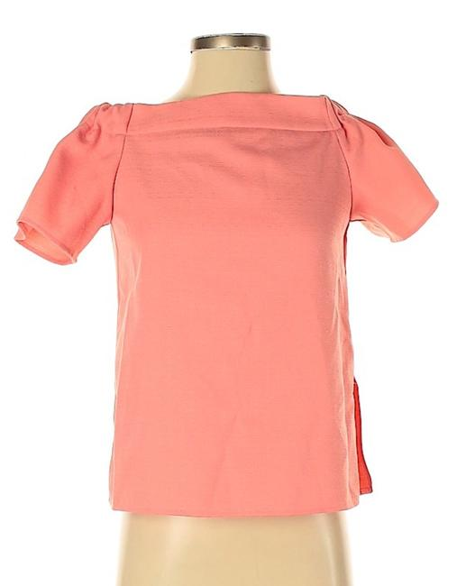 ASOS Peachy Pink Rouched Off The Shoulder Blouse Size 4 (S) ASOS Peachy Pink Rouched Off The Shoulder Blouse Size 4 (S) Image 1