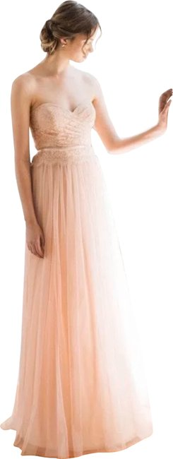 Item - Blush Ivy Lace & Tulle Strapless Bridesmaids Gown Long Night Out Dress Size 6 (S)