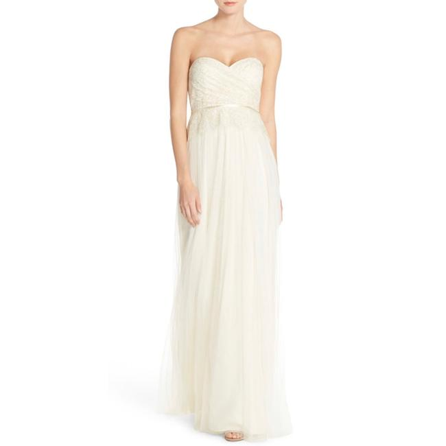 Item - Cream Ivy Lace & Tulle Strapless Bridesmaids Gown Long Night Out Dress Size 2 (XS)