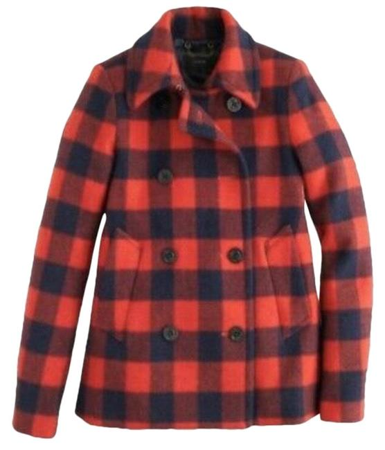 Item - Red Black Buffalo Check Wool & Blue #07089 Coat Size 2 (XS)