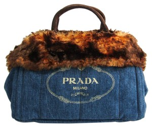 Prada Tote in Blue / Brown