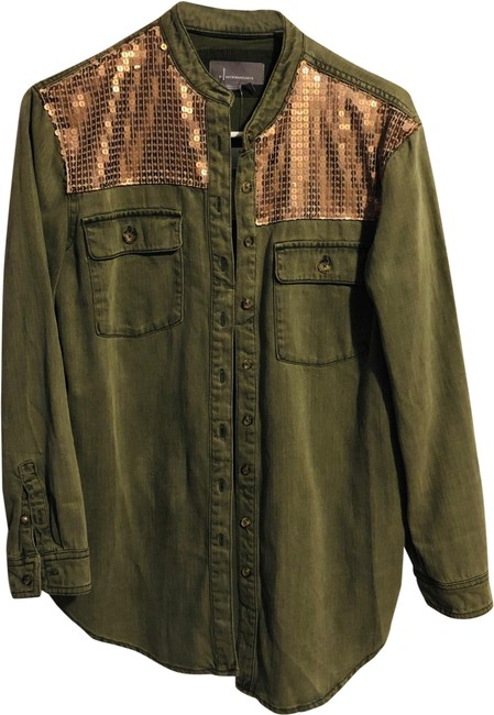 Item - Army Green Button-down Top Size 4 (S)