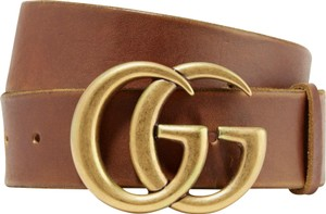 Gucci Brown Size 120 Gg Logo Double G Brown Leather Belt