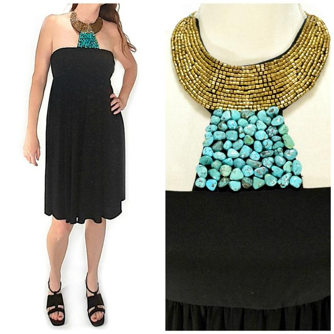 Item - Black Turquoise Beaded Necklace Halter Cocktail Short Night Out Dress Size 6 (S)