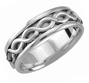 Apples of Gold Sterling Silver Unbroken Infinity Ring Women's Wedding Band