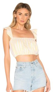 LoveRiche Ruffle Smock Crop Top White, Yellow, Gold
