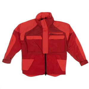 Unravel Project Nylon Oversized Hooded Red Jacket
