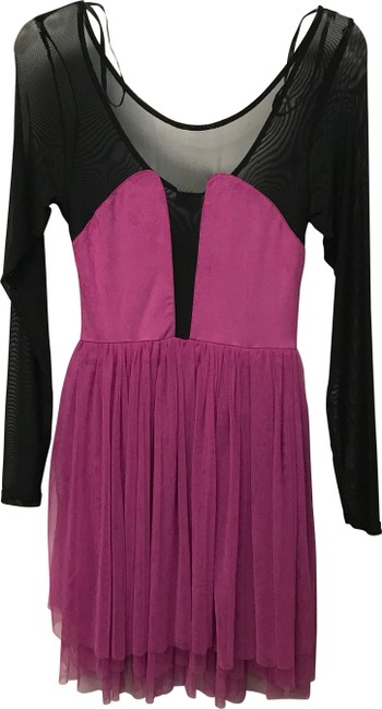 Item - Fuchsia Color Block Sheer Mid-length Night Out Dress Size 8 (M)