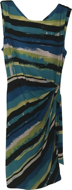 Item - Blue Black Turquoise White and Lime Green Short Work/Office Dress Size 12 (L)