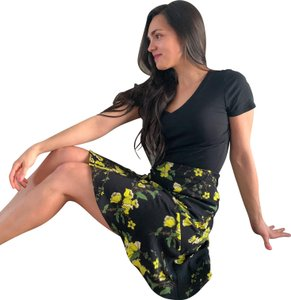Who What Wear x Target Floral Paneled Mini Skirt Black
