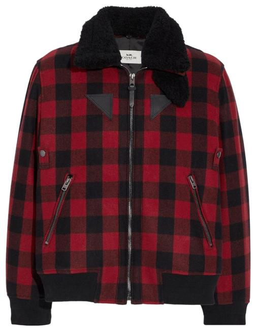 Item - Multicolor Buffalo Check Black and Red Bomber with Shearling Collar Jacket Size 0 (XS)