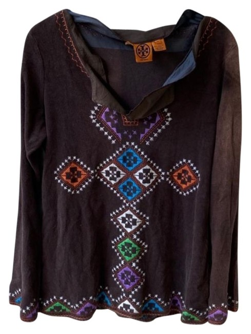 Item - Brown Embroidered Terry Tunic Size 8 (M)