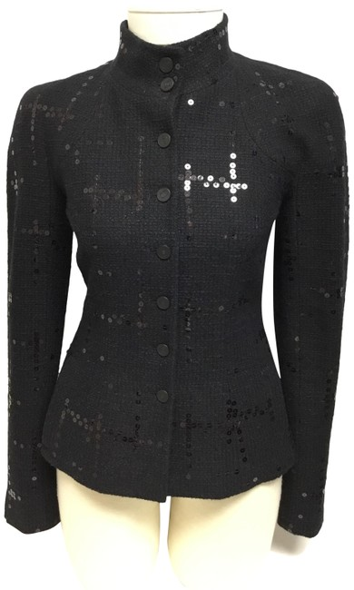 Item - Black Sequin Embroidered Tweed with Logo Buttons Jacket Size 6 (S)