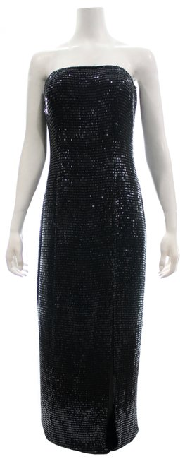 Item - Black Beaded Gown Long Night Out Dress Size 10 (M)