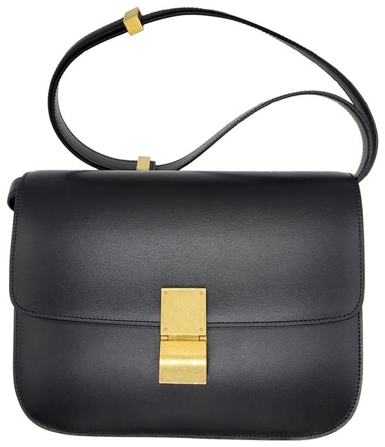 Item - Classic Box Medium Black Calfskin with Gold Hardware and Lambskin Lining Leather Shoulder Bag