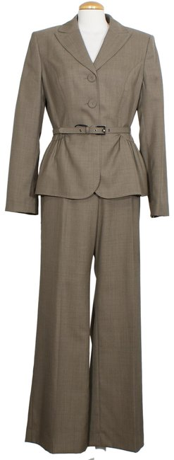 Item - Taupe Wool Blend Belted Classic Fit Wide Leg Pant Suit Size 14 (L)