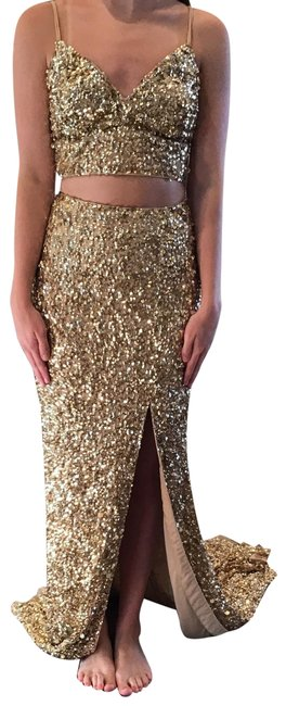 Item - Gold 53448 Long Formal Dress Size 0 (XS)