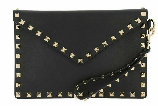 Item - Clutch New Rockstud Envelope Pouch New Black Leather Wristlet