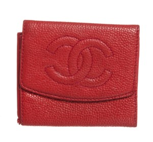 Chanel Chanel Red Caviar Leather Compact Coin Wallet