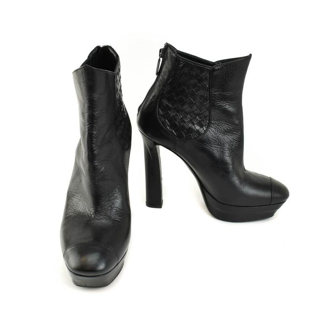 """Item - Black """"Intrecciato"""" Leather Platform Ankle Boots/Booties Size EU 38 (Approx. US 8) Narrow (Aa, N)"""