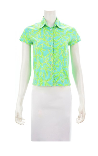 Item - Green Leaf Print Sleeved Button Down Small Tee Shirt Size 4 (S)