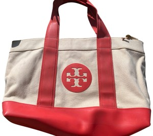 Tory Burch Linen/ Red Beach Bag