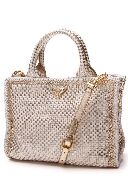 Item - Madras - Gold/White Gold Leather Tote