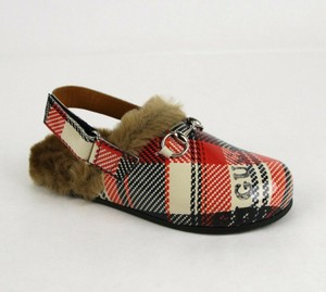 Gucci Red/Beige Checkered Patent Leather Fur Lined Loafer 31/Us 13 526151 4160 Shoes