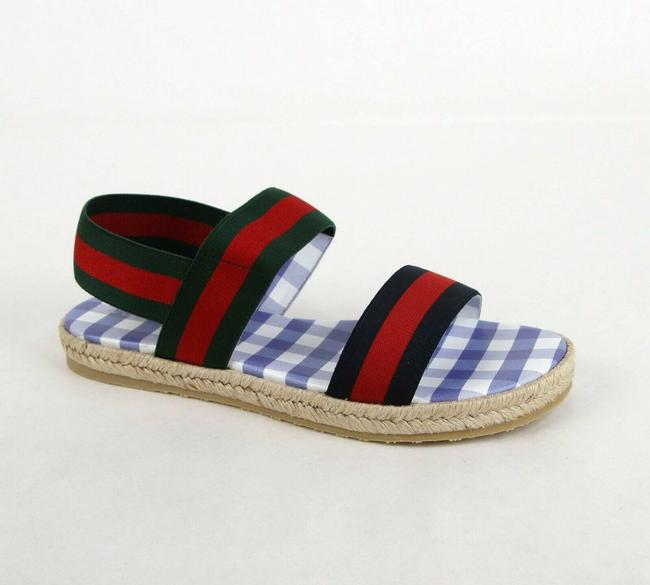 Item - Green/Blue/Red Brb and Grg Web Elastic Flat Sandal with Straw Detail 31/Us 13 50107 Shoes