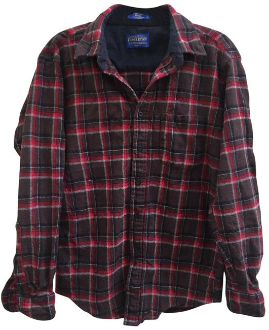 Item - Red Plaid Wool Shirt Button-down Top Size 6 (S)