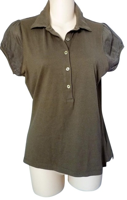 Item - Brown Polo Buttons Puff Sleeve Tee Shirt Size 4 (S)