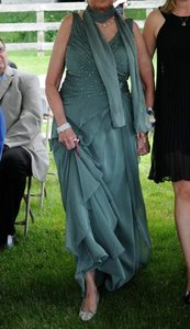 Ignite Evenings By Carol Lin Green Ignite Evenings Woman Ruched Asymmetric-tiered Gown In Green Dress
