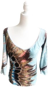 Roberto Cavalli Feather Bird Peacock Holes T Shirt Blue