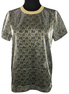 Just Cavalli Silver Gold Metallic See Through Top Multicolor